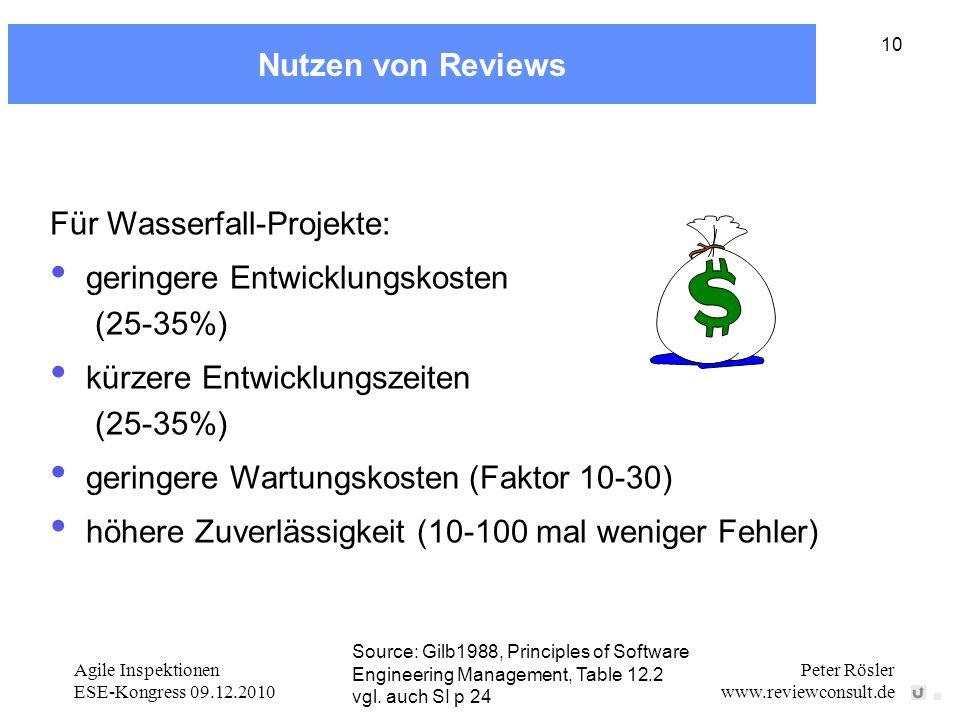 Für Wasserfall-Projekte: geringere Entwicklungskosten (25-35%)