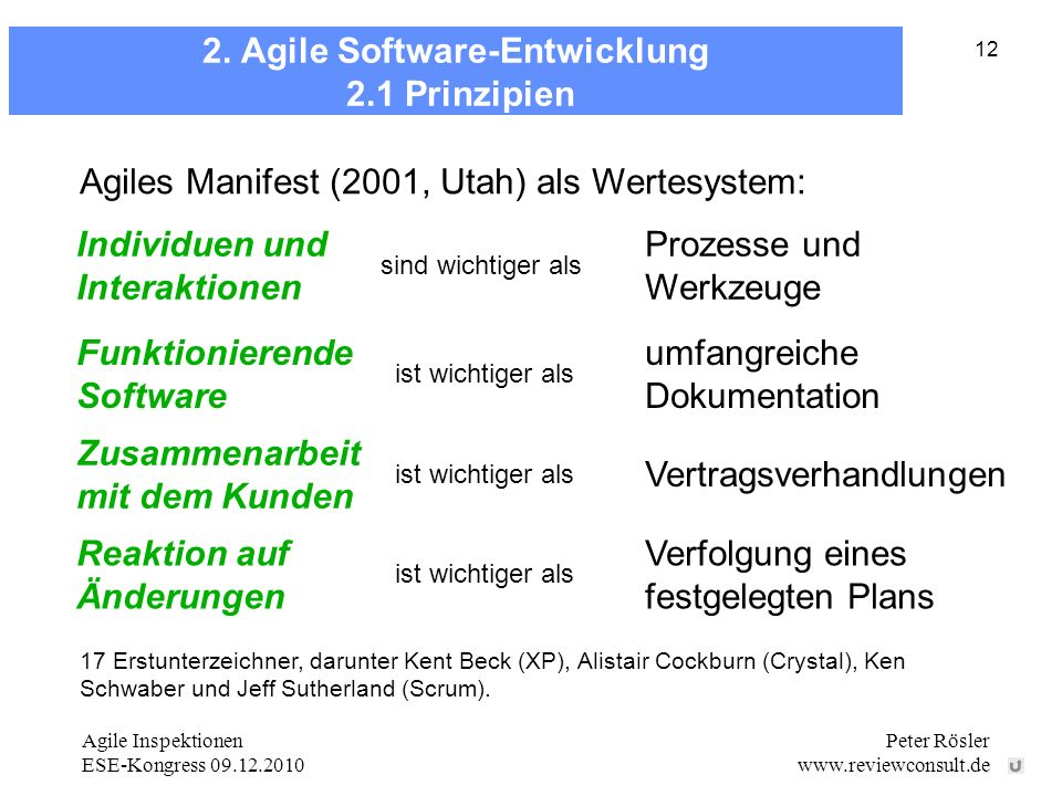 2. Agile Software-Entwicklung 2.1 Prinzipien