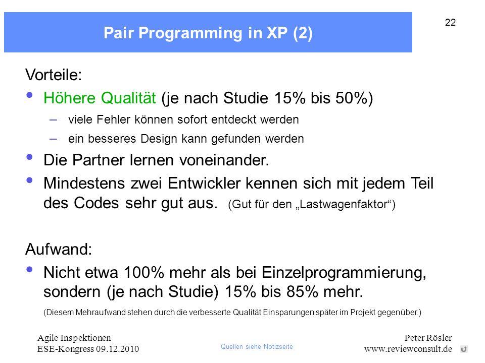 Pair Programming in XP (2)