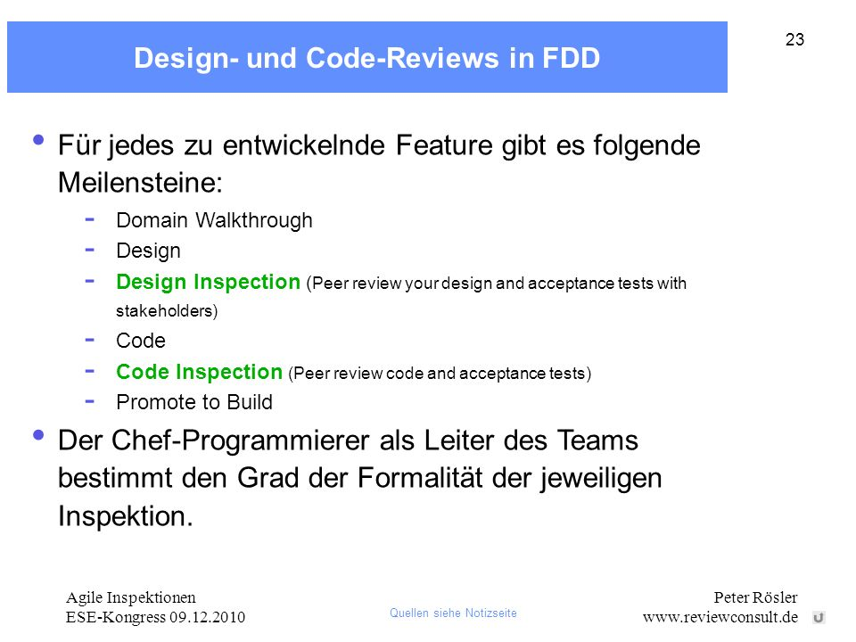 Design- und Code-Reviews in FDD