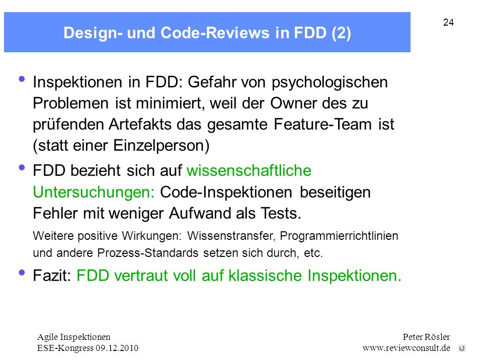 Design- und Code-Reviews in FDD (2)