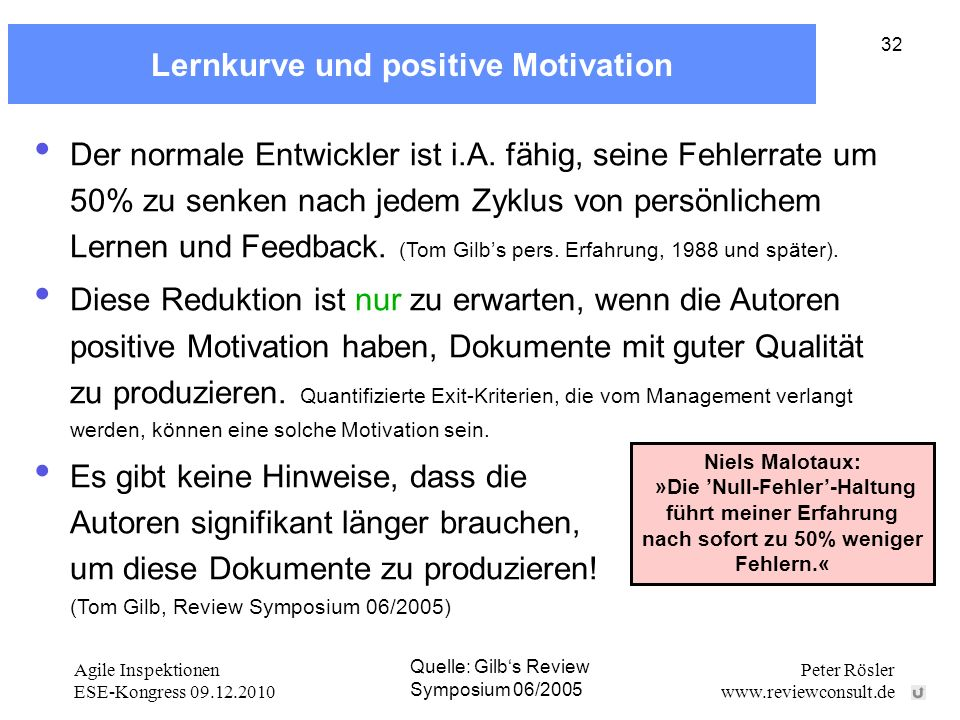 Lernkurve und positive Motivation