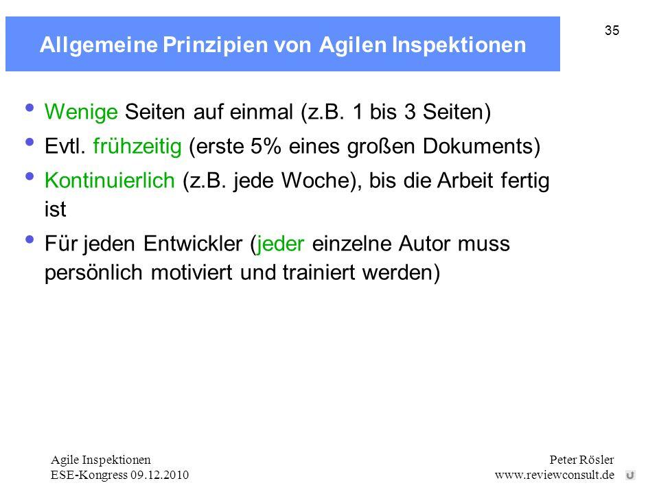 Allgemeine Prinzipien von Agilen Inspektionen