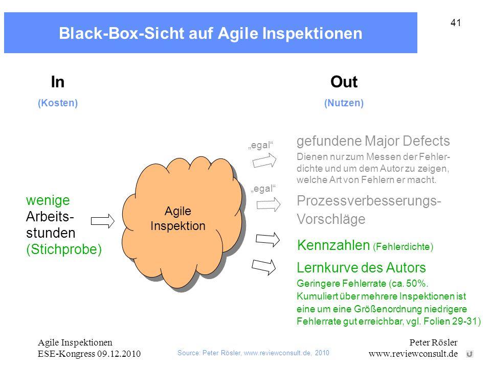 Black-Box-Sicht auf Agile Inspektionen