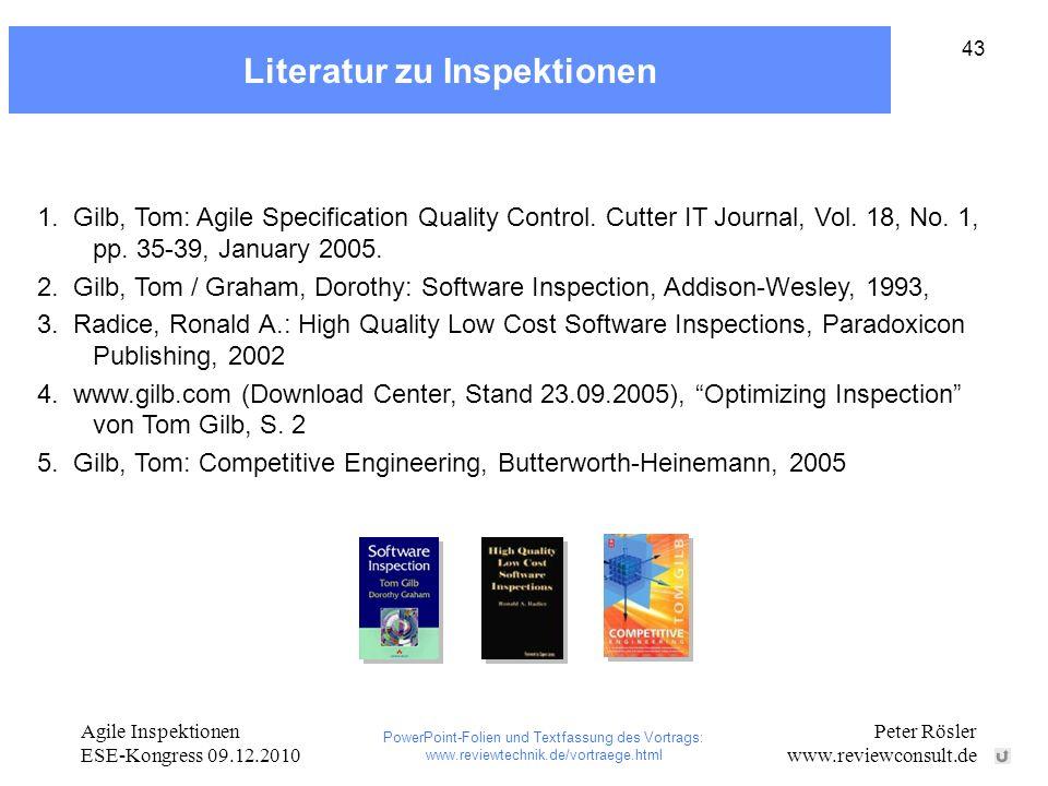 Literatur zu Inspektionen