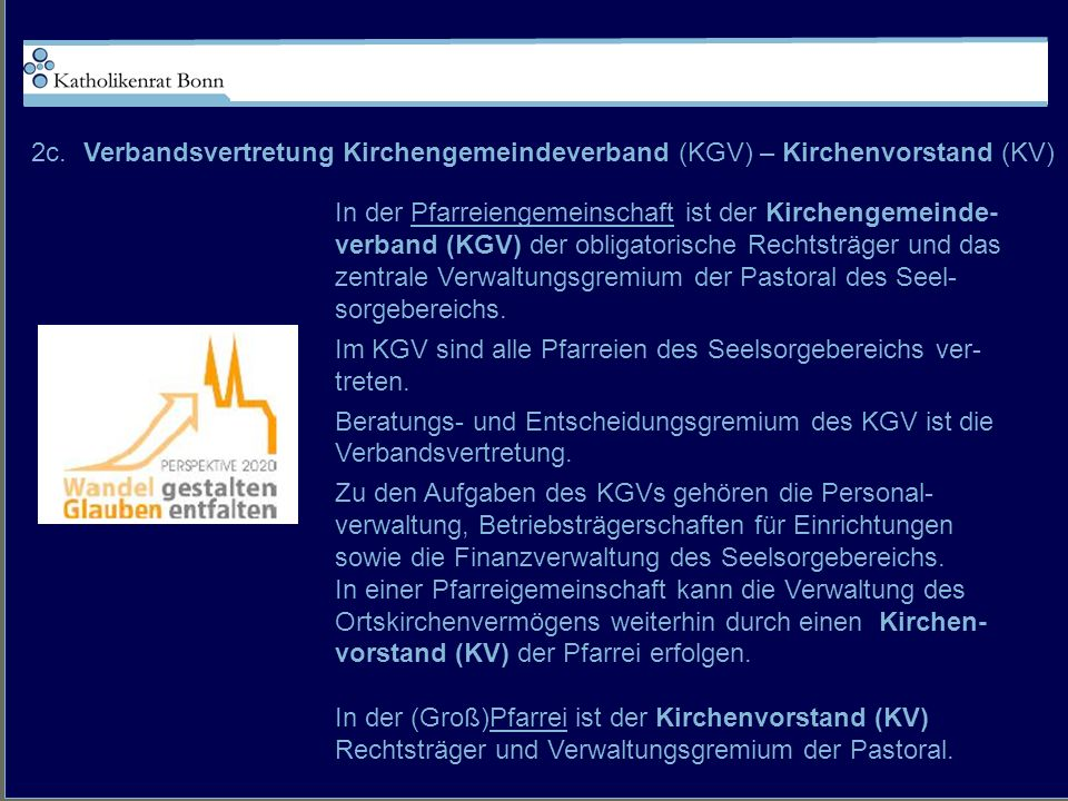 2c. Verbandsvertretung Kirchengemeindeverband (KGV) – Kirchenvorstand (KV)