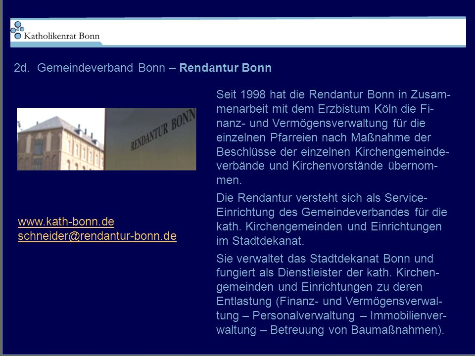 2d. Gemeindeverband Bonn – Rendantur Bonn