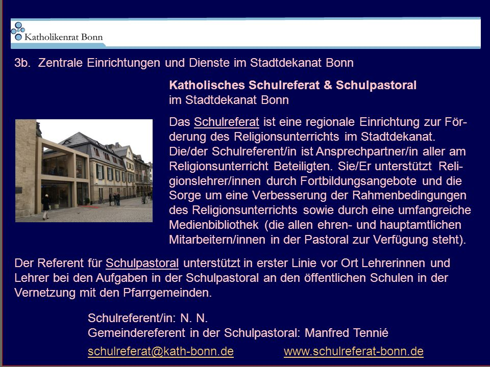 3b. Zentrale Einrichtungen und Dienste im Stadtdekanat Bonn