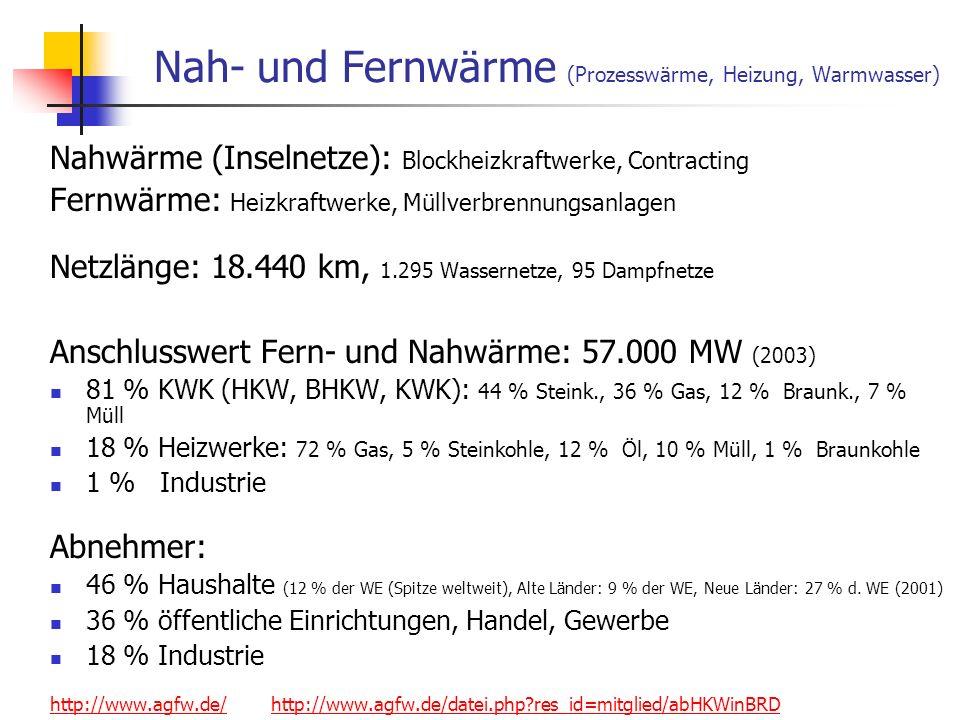 Nah- und Fernwärme (Prozesswärme, Heizung, Warmwasser)