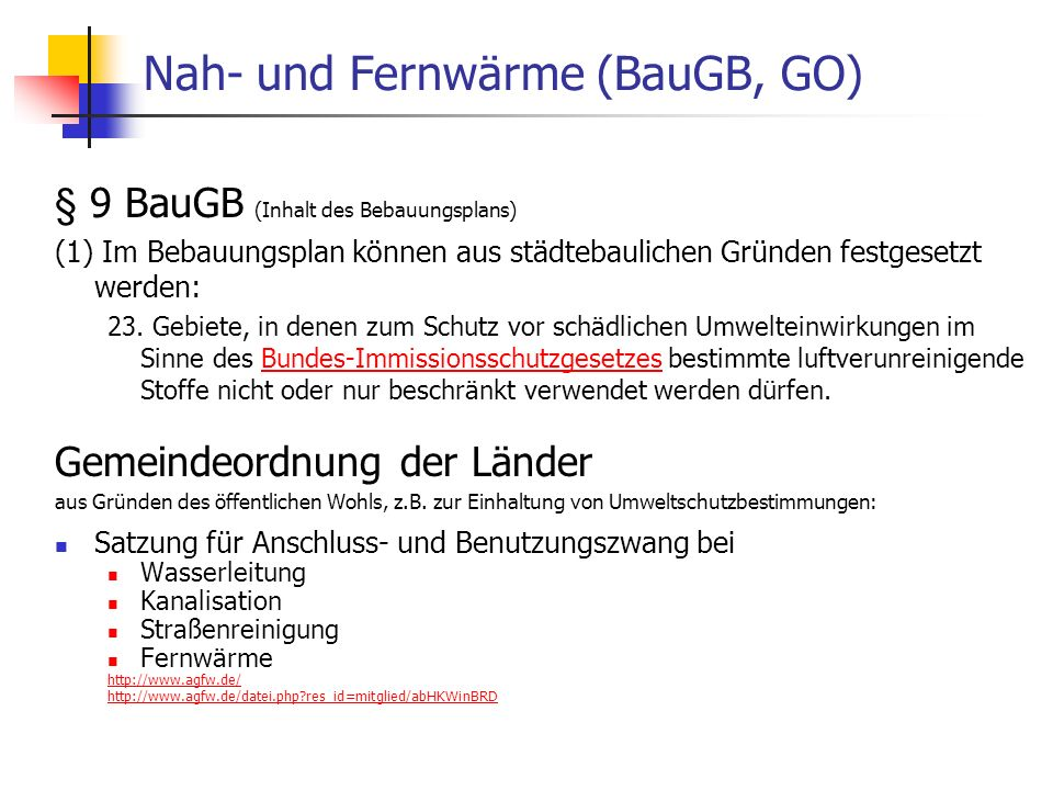 Nah- und Fernwärme (BauGB, GO)