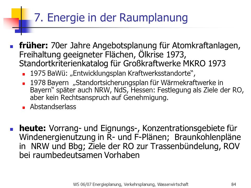 7. Energie in der Raumplanung