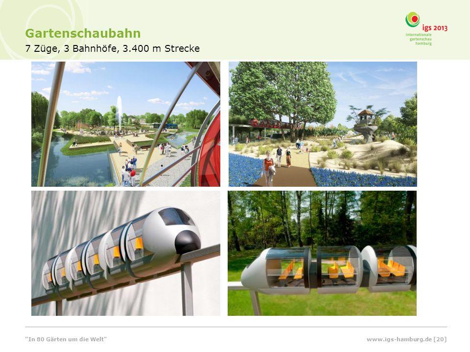 Gartenschaubahn 7 Züge, 3 Bahnhöfe, 3.400 m Strecke