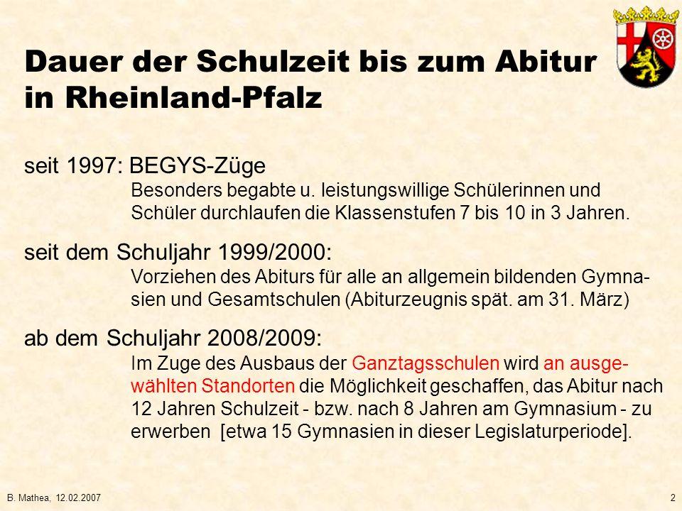 Dauer der Schulzeit bis zum Abitur in Rheinland-Pfalz