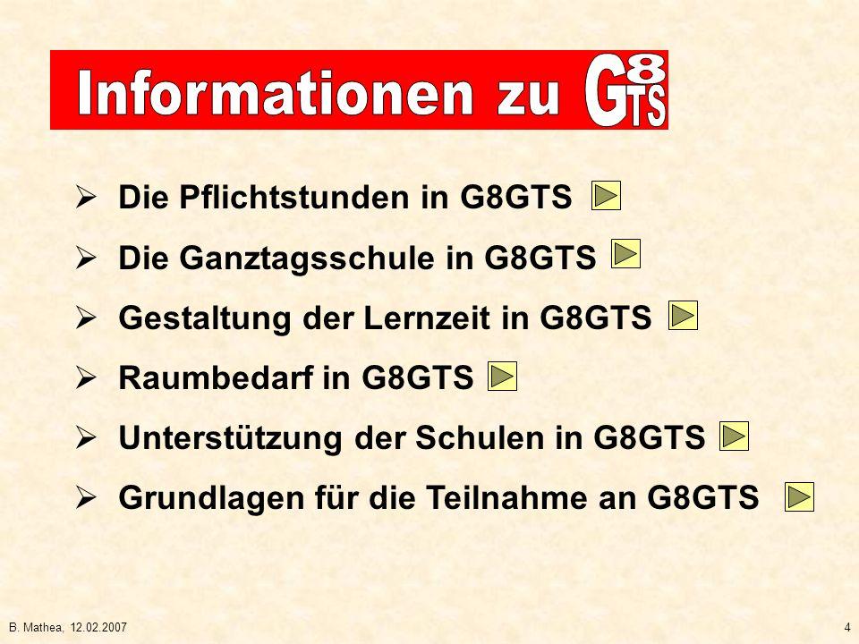 Die Pflichtstunden in G8GTS Die Ganztagsschule in G8GTS