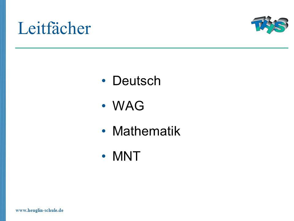 Leitfächer Deutsch WAG Mathematik MNT