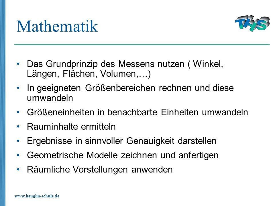 Mathematik Das Grundprinzip des Messens nutzen ( Winkel, Längen, Flächen, Volumen,…) In geeigneten Größenbereichen rechnen und diese umwandeln.