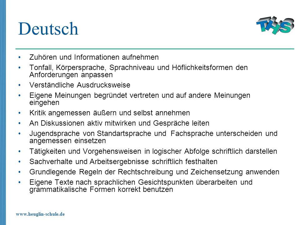 Deutsch Zuhören und Informationen aufnehmen