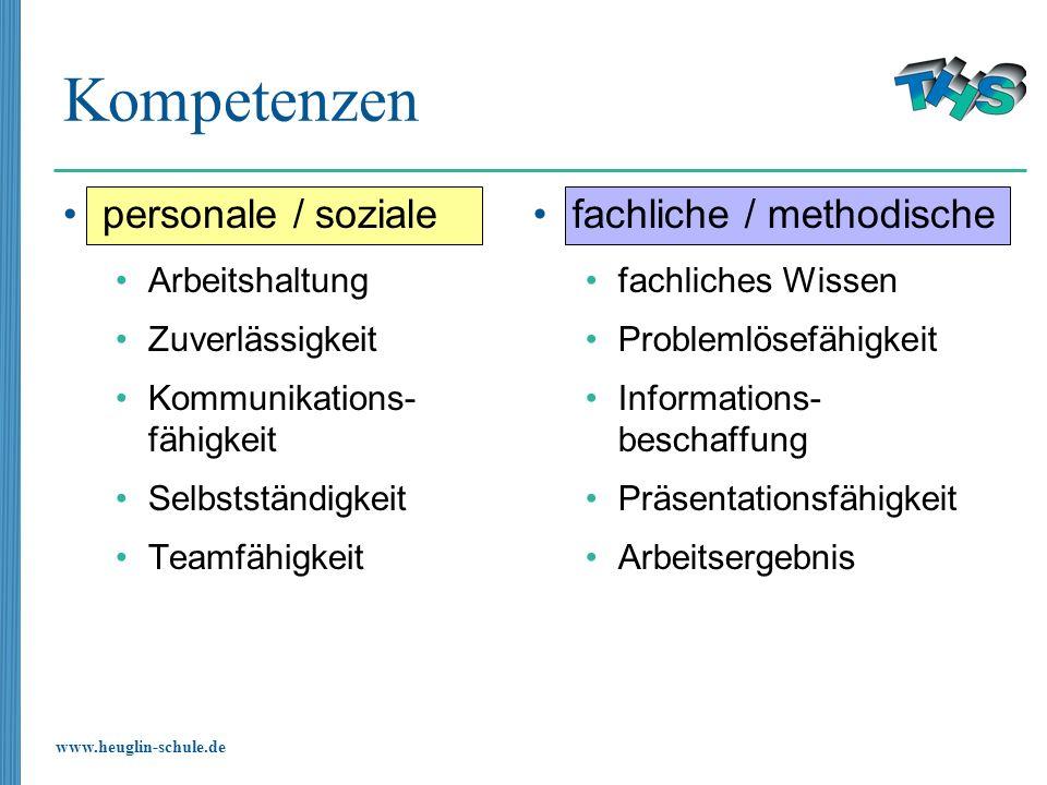 Kompetenzen personale / soziale fachliche / methodische Arbeitshaltung