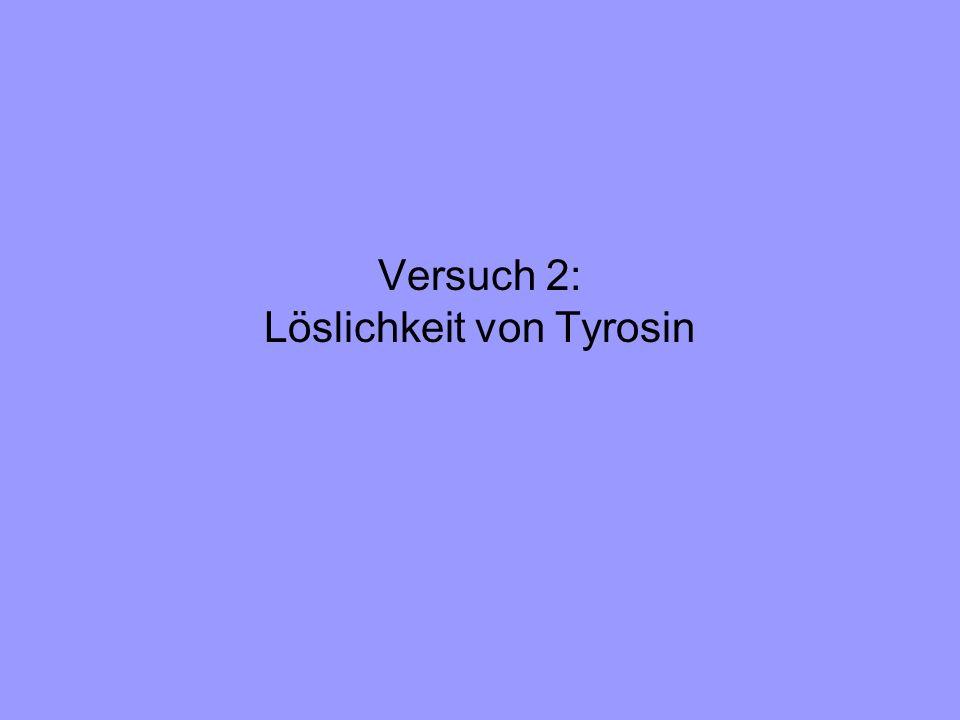 Versuch 2: Löslichkeit von Tyrosin