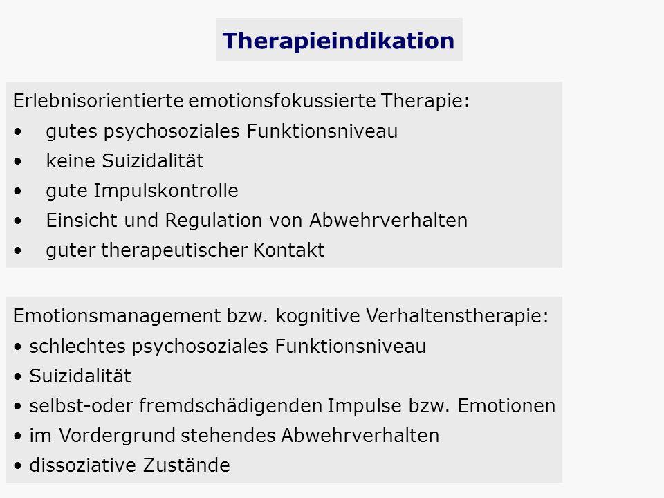 Therapieindikation Erlebnisorientierte emotionsfokussierte Therapie: