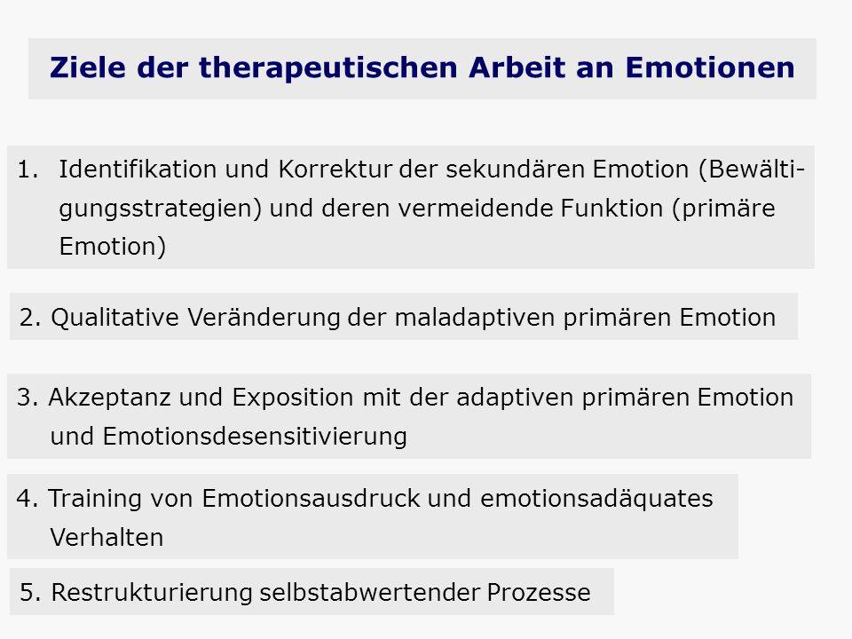 Ziele der therapeutischen Arbeit an Emotionen