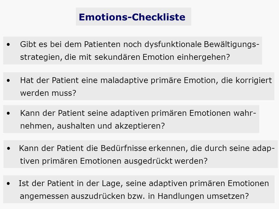 Emotions-Checkliste Gibt es bei dem Patienten noch dysfunktionale Bewältigungs- strategien, die mit sekundären Emotion einhergehen