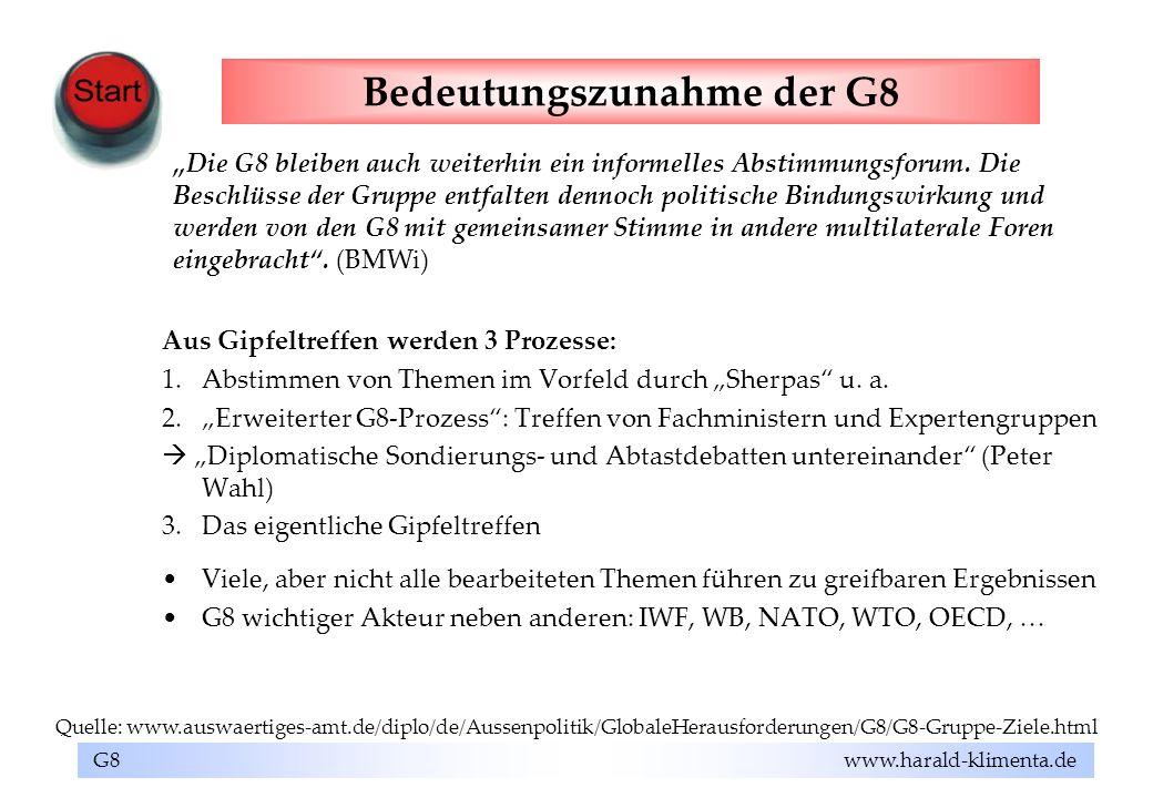 Bedeutungszunahme der G8