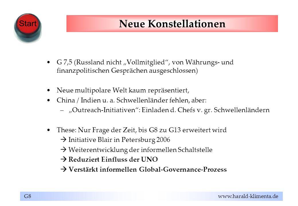 """Neue Konstellationen G 7,5 (Russland nicht """"Vollmitglied , von Währungs- und finanzpolitischen Gesprächen ausgeschlossen)"""