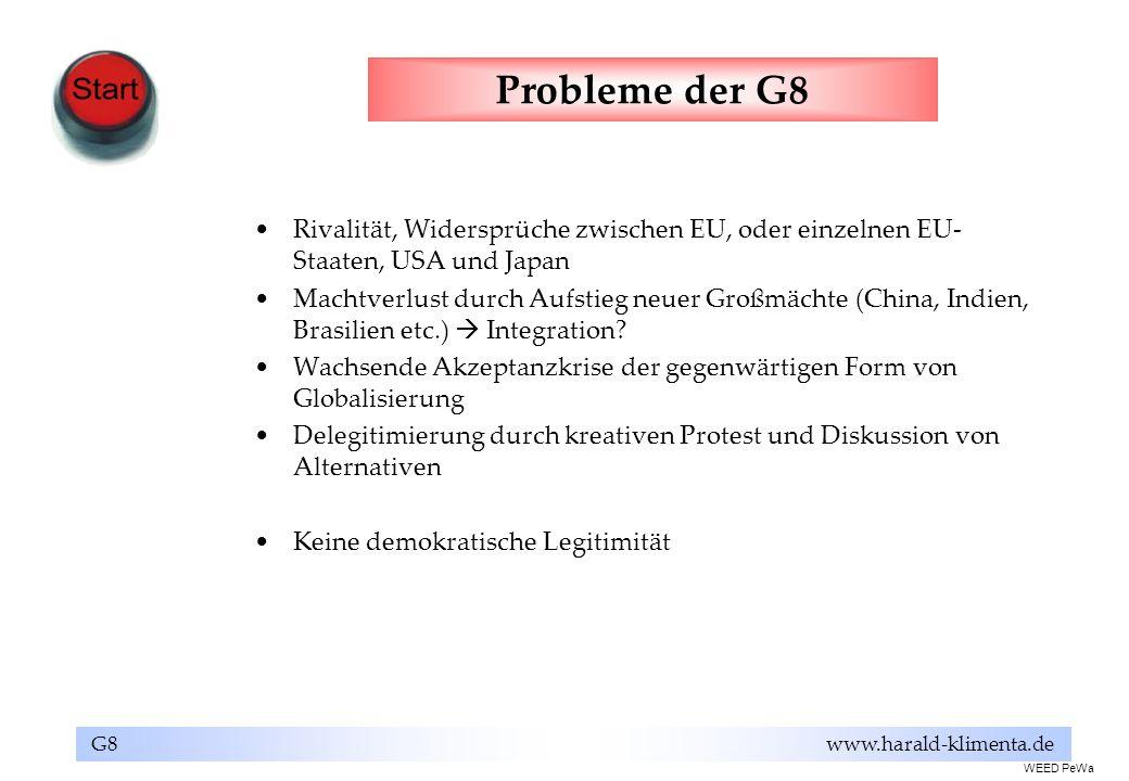Probleme der G8Rivalität, Widersprüche zwischen EU, oder einzelnen EU-Staaten, USA und Japan.