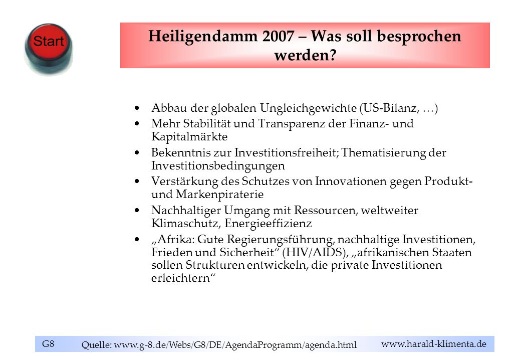 Heiligendamm 2007 – Was soll besprochen werden