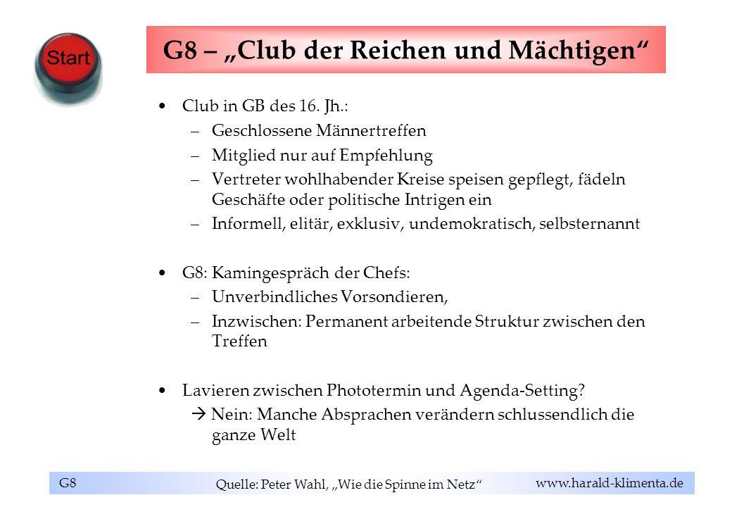 """G8 – """"Club der Reichen und Mächtigen"""
