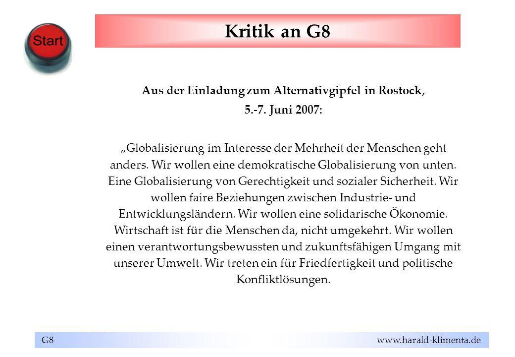 Aus der Einladung zum Alternativgipfel in Rostock,