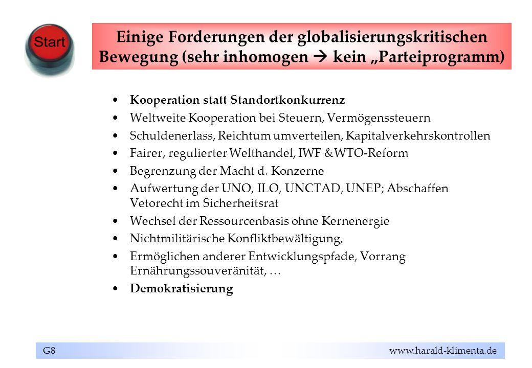 """Einige Forderungen der globalisierungskritischen Bewegung (sehr inhomogen  kein """"Parteiprogramm)"""