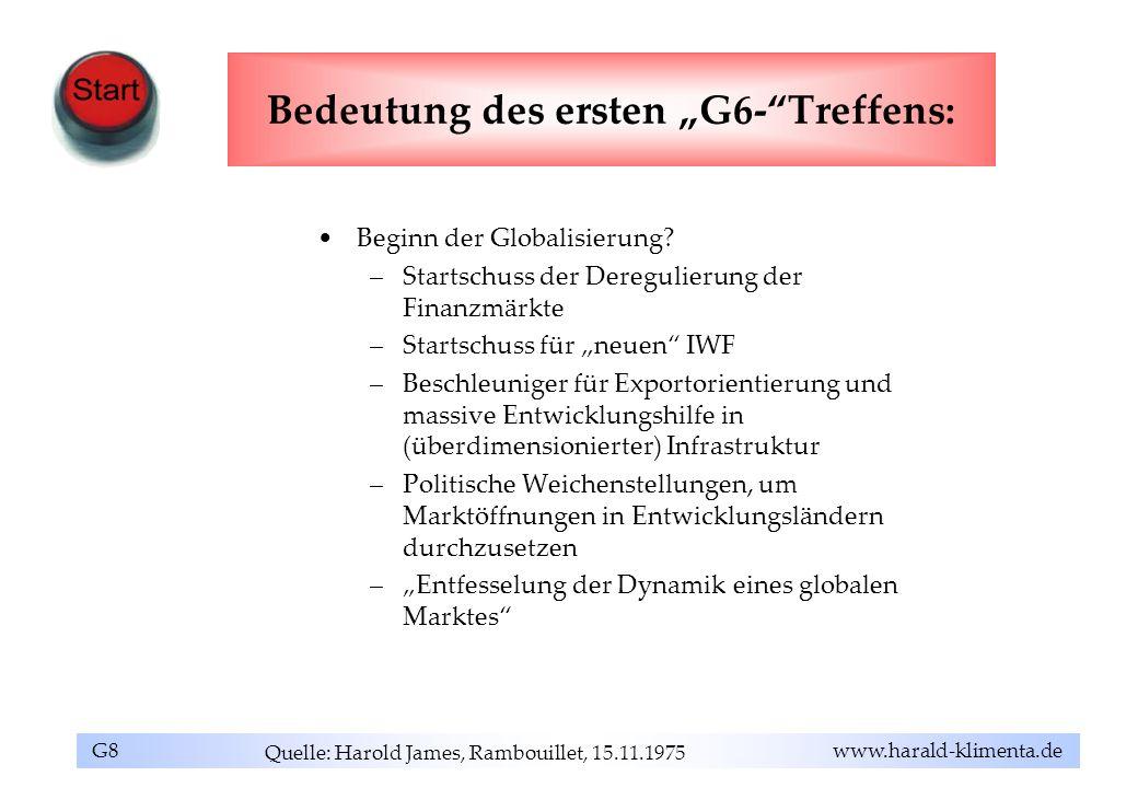 """Bedeutung des ersten """"G6- Treffens:"""