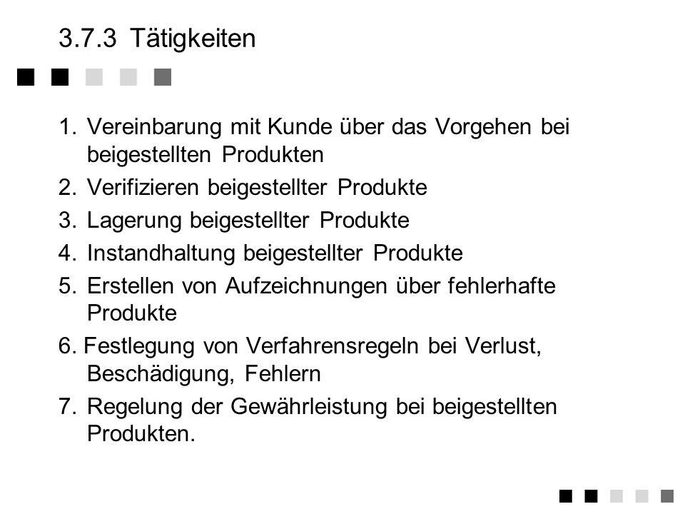3.7.3 Tätigkeiten1. Vereinbarung mit Kunde über das Vorgehen bei beigestellten Produkten. 2. Verifizieren beigestellter Produkte.