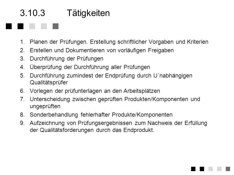 3.10.3 Tätigkeiten1. Planen der Prüfungen. Erstellung schriftlicher Vorgaben und Kriterien. 2. Erstellen und Dokumentieren von vorläufigen Freigaben.