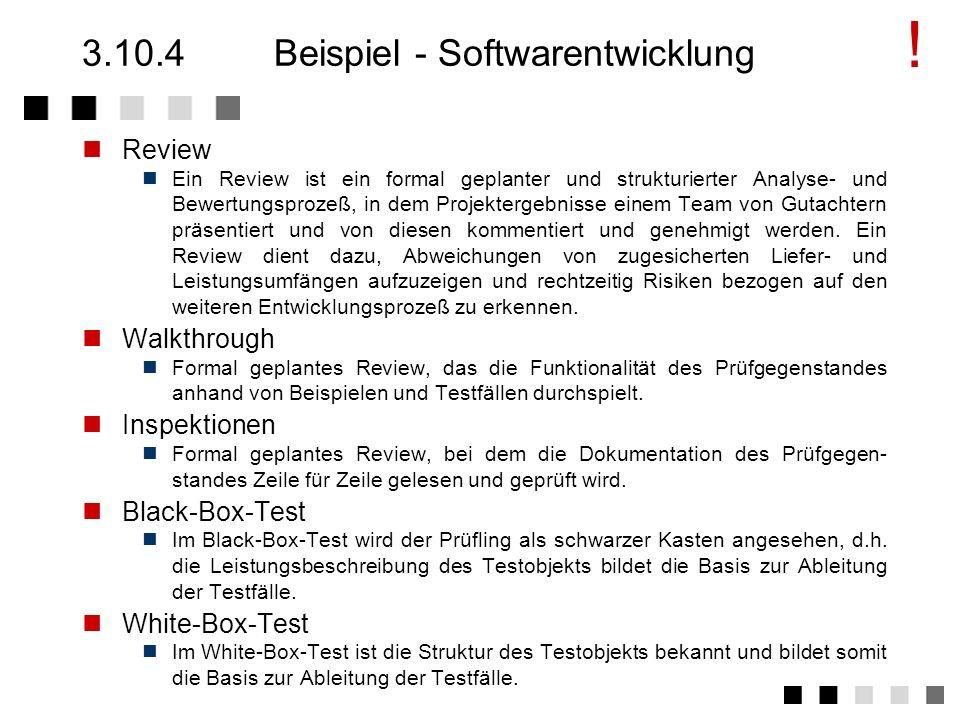 3.10.4 Beispiel - Softwarentwicklung