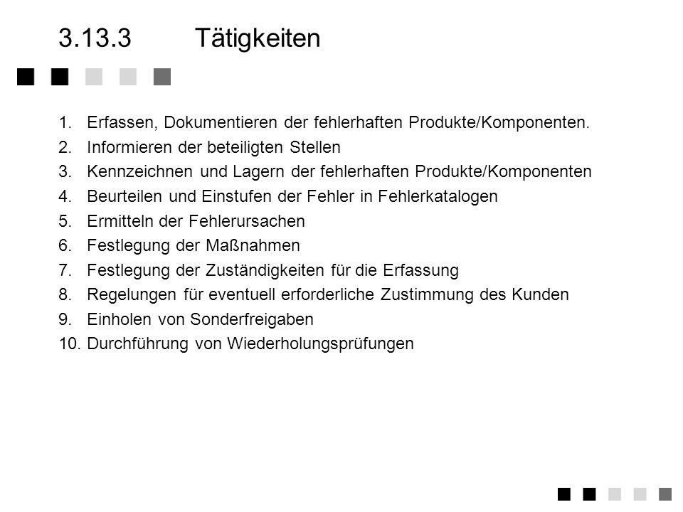 3.13.3 Tätigkeiten1. Erfassen, Dokumentieren der fehlerhaften Produkte/Komponenten. 2. Informieren der beteiligten Stellen.