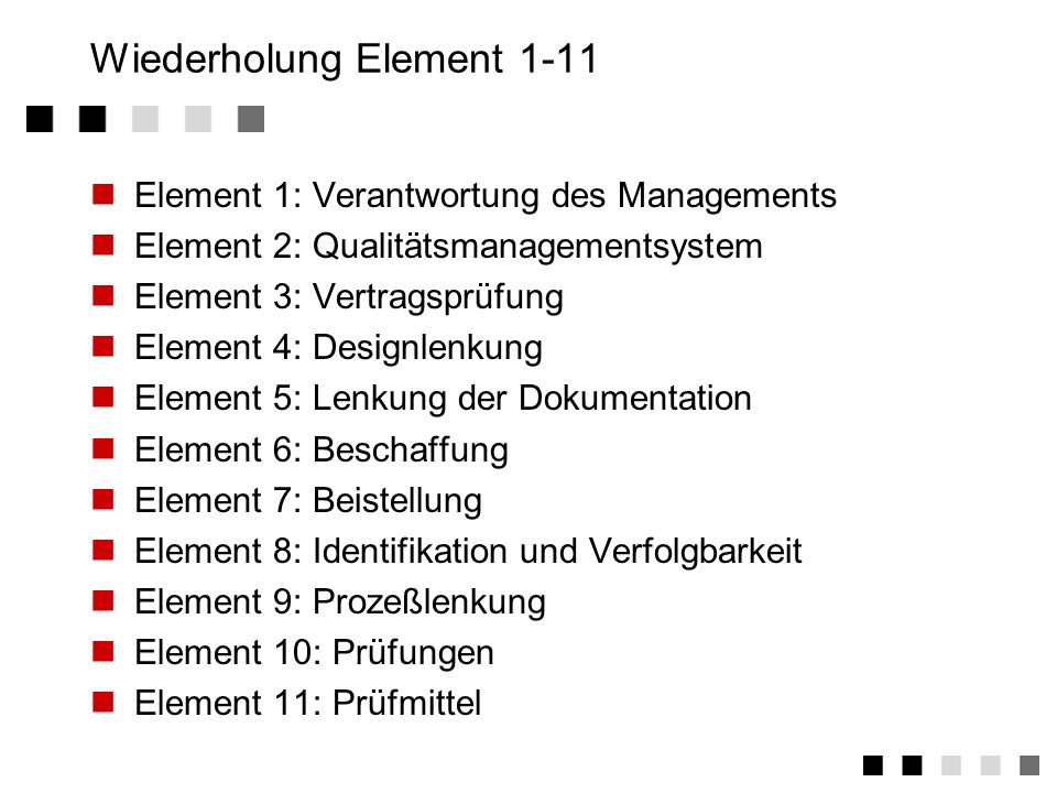 Wiederholung Element 1-11