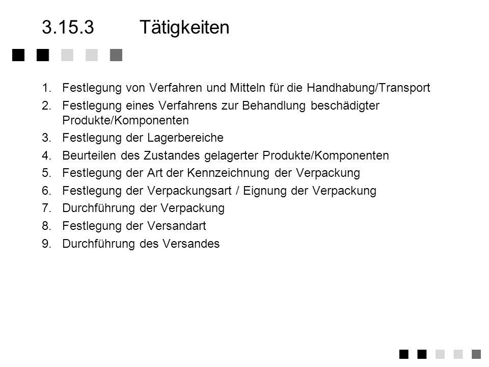 3.15.3 Tätigkeiten1. Festlegung von Verfahren und Mitteln für die Handhabung/Transport.