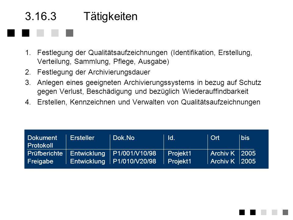 3.16.3 Tätigkeiten1. Festlegung der Qualitätsaufzeichnungen (Identifikation, Erstellung, Verteilung, Sammlung, Pflege, Ausgabe)