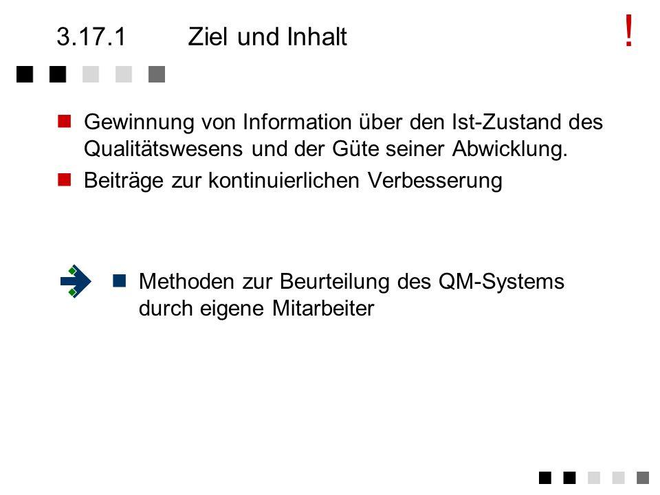 !3.17.1 Ziel und Inhalt. Gewinnung von Information über den Ist-Zustand des Qualitätswesens und der Güte seiner Abwicklung.