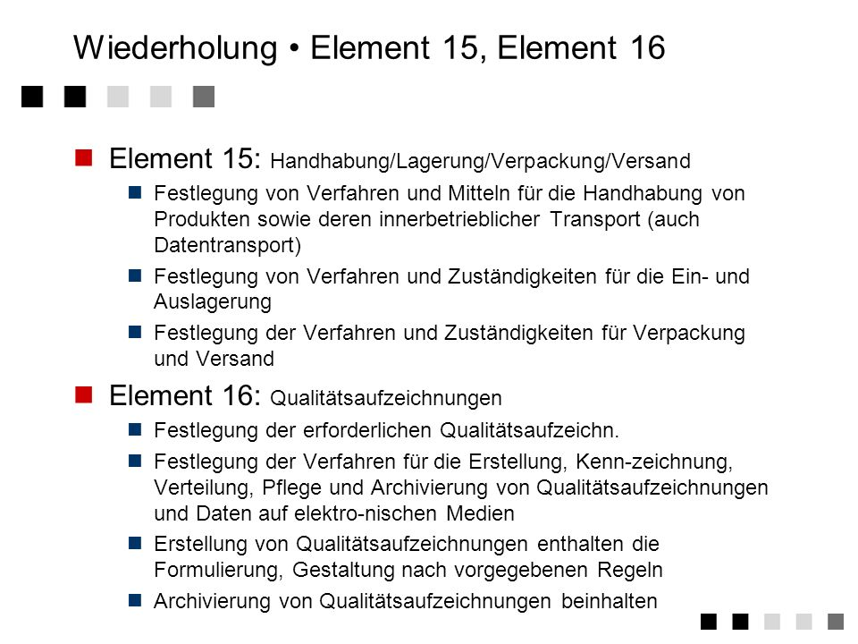 Wiederholung • Element 15, Element 16