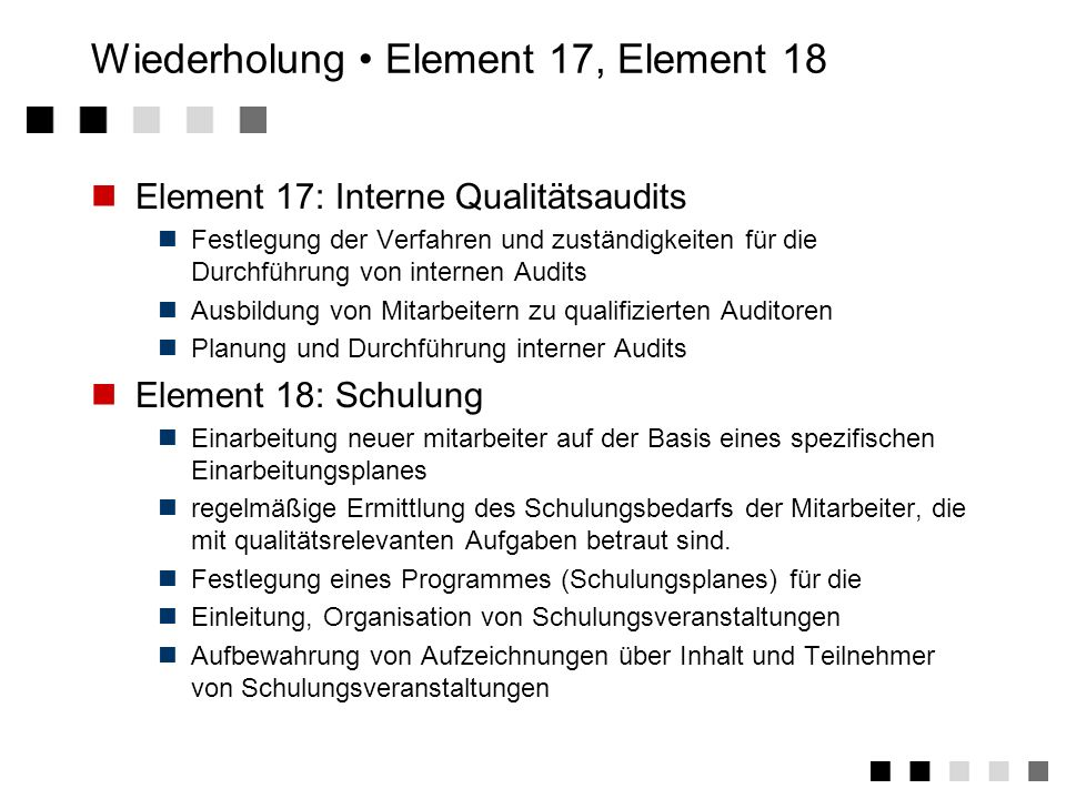 Wiederholung • Element 17, Element 18