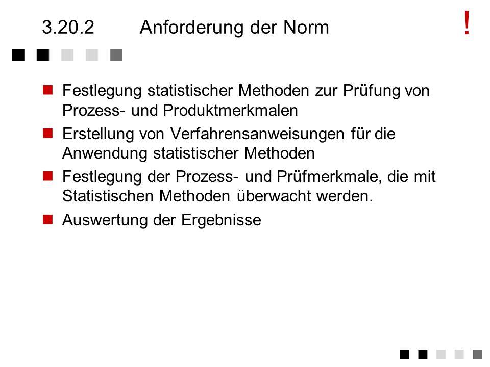 ! 3.20.2 Anforderung der Norm. Festlegung statistischer Methoden zur Prüfung von Prozess- und Produktmerkmalen.