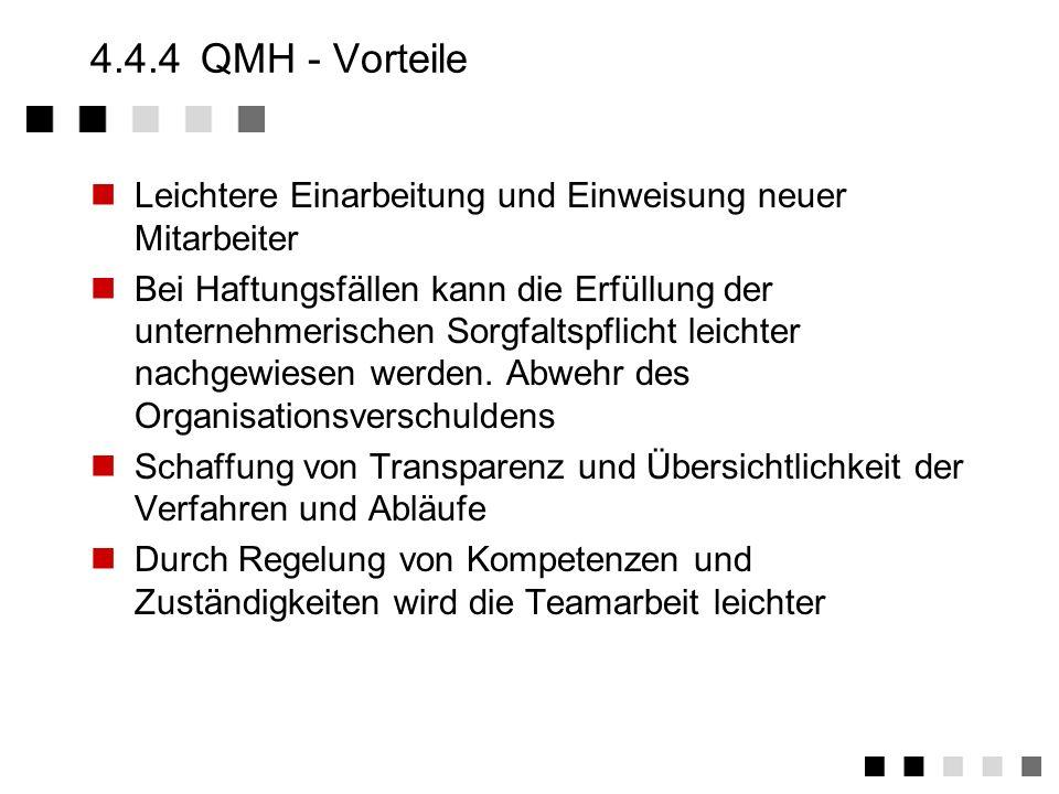 4.4.4 QMH - Vorteile Leichtere Einarbeitung und Einweisung neuer Mitarbeiter.