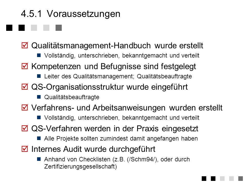 4.5.1 Voraussetzungen Qualitätsmanagement-Handbuch wurde erstellt
