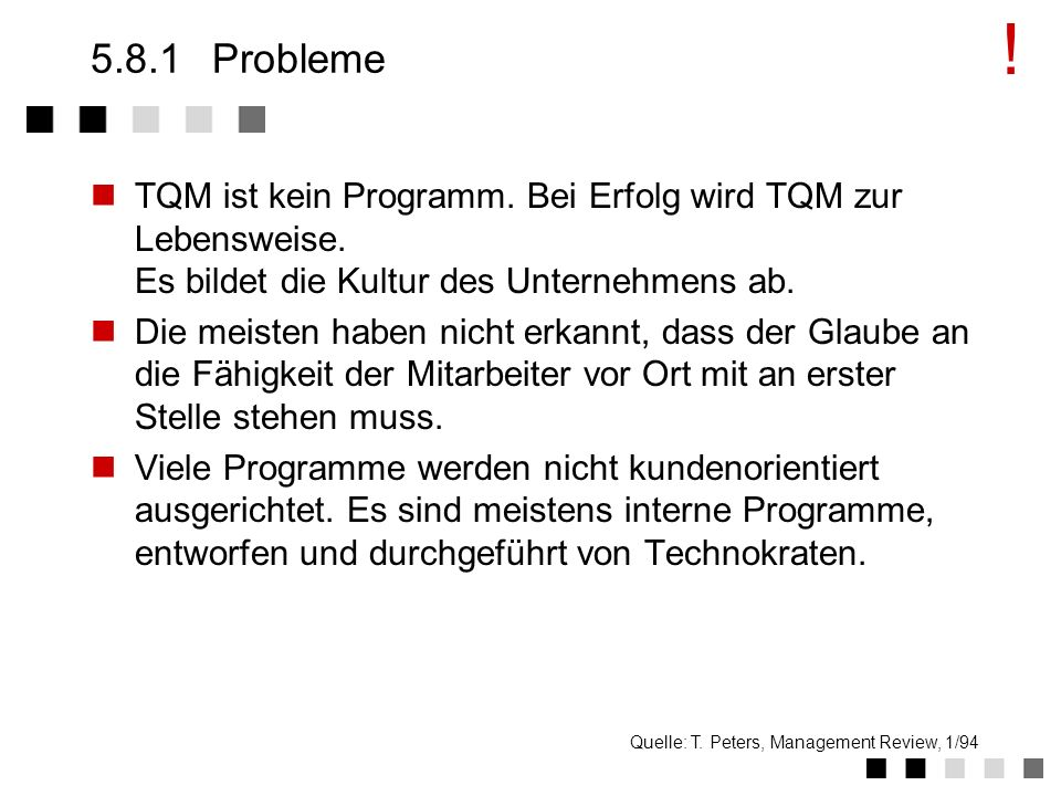 !5.8.1 Probleme. TQM ist kein Programm. Bei Erfolg wird TQM zur Lebensweise. Es bildet die Kultur des Unternehmens ab.
