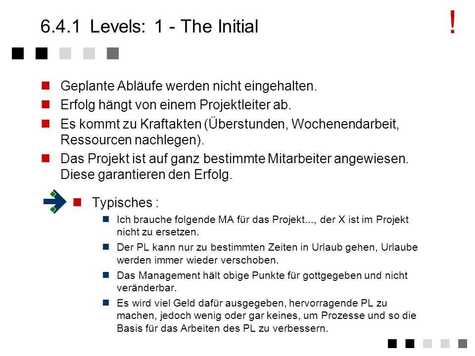 !6.4.1 Levels: 1 - The Initial. Geplante Abläufe werden nicht eingehalten. Erfolg hängt von einem Projektleiter ab.