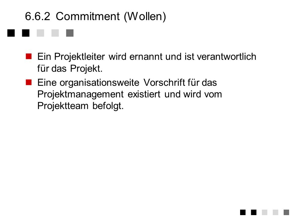 6.6.2 Commitment (Wollen)Ein Projektleiter wird ernannt und ist verantwortlich für das Projekt.